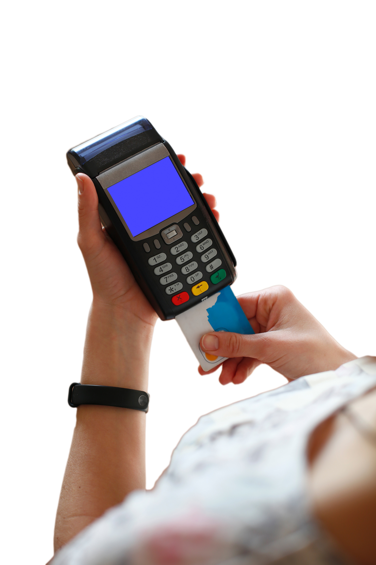 Delaware-Based Merchant inserting chip card into POS terminal