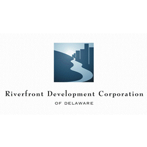 River and city logo with lettering for Riverfront Development Corporation of Delaware