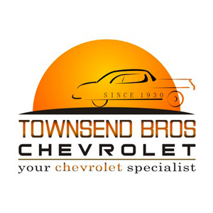 Orange car logo and lettering for Townsend Bros Chevrolet